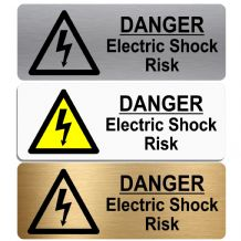Danger Electric Shock Risk-WITH IMAGE-Aluminium Metal Sign-Door,Notice,Office,Business,Health,Safety